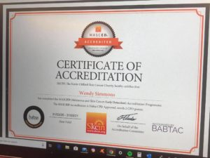 A certificate achieved for early detection of skin cancer